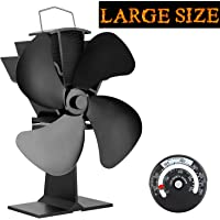 KINDEN Fireplace Fans 4-Blade - Heat Powered Stove Fan for Wood Log Burner Ultra Quiet Increases 80% More Warm Air than 2 Blade Eco-Friendly with Stove Thermometer (Aluminium BlackLarge Size)