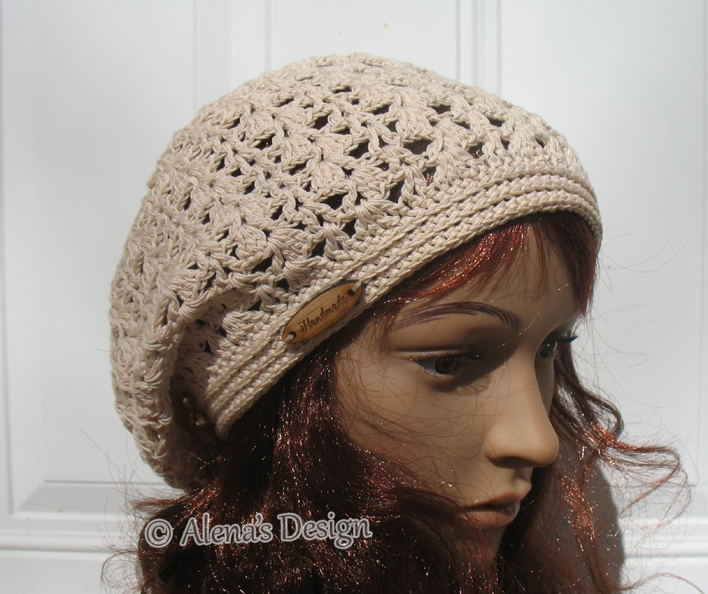 3194803b3df Amazon.com  Crocheted Slouchy Hat Ladies Lace Beanie Handmade Women Lace  Cream Beige Hat Made in USA  Handmade