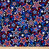 quilting fabric with 5 stars - Kanvas All American Super Star Blue Fabric By The Yard