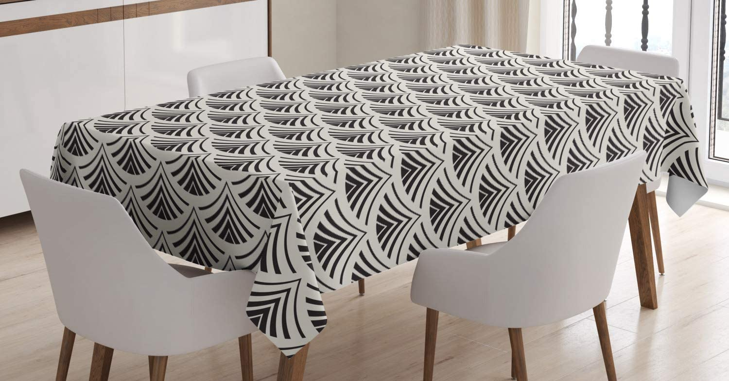 Amazon Com Lunarable Ethnic Tablecloth Japanese Traditional Style Minimalist Pattern With Geometric Fan Motif Rectangular Table Cover For Dining Room Kitchen Decor 60 X 90 Eggshell Charcoal Grey Home Kitchen