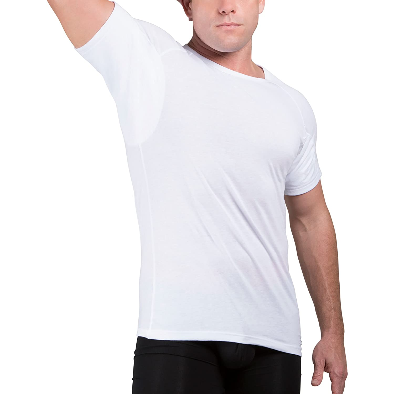Ejis Sweat Proof Undershirt Men w/Sweat Pads & Real Silver, Cotton Crew Neck
