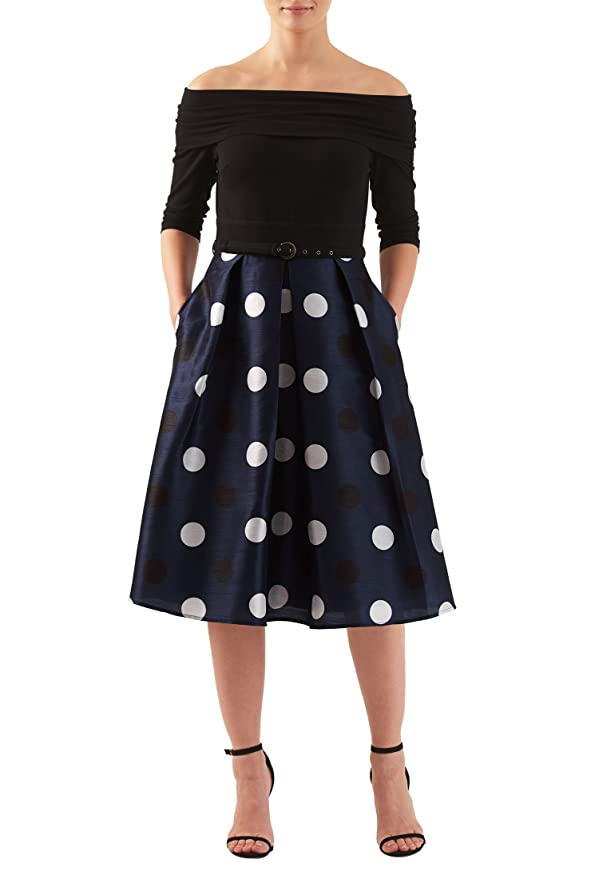 1950s Polka Dot Dresses eShakti Womens Off-shoulder mixed media polka dot dress $62.95 AT vintagedancer.com