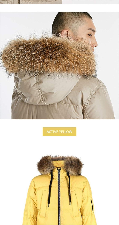 Okener.F Inverno Cappuccio Collo di Pelliccia Lungo Piumino Caldo Cappotto Menswear Black mGU2e