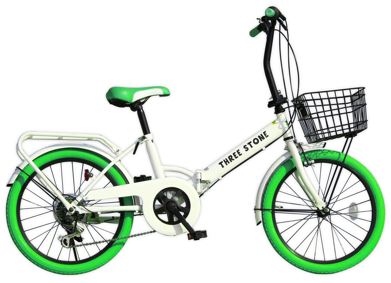 THREE STONE 折りたたみ自転車 20インチ カラータイヤ カラー:グリーン AJ-04 シマノ社製外装6段ギア搭載/リアキャリア/ワイヤー錠/前後泥除け/前カゴ/PL保険 B01B1EQF34