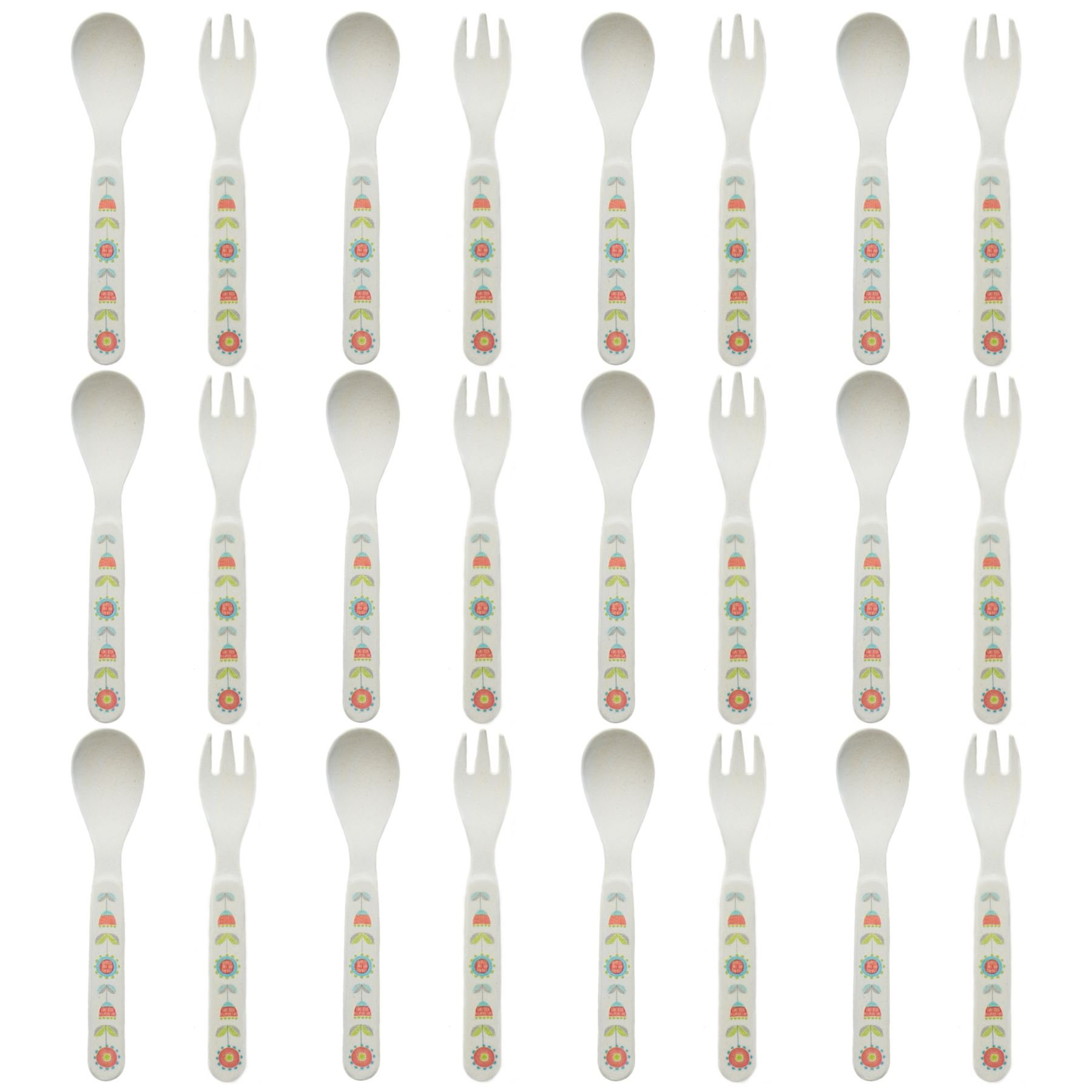 Tiny Dining Children's Bamboo Fibre Dining Fork & Spoon Cutlery Set - Flower - Pack of 12 by Tiny Dining (Image #1)
