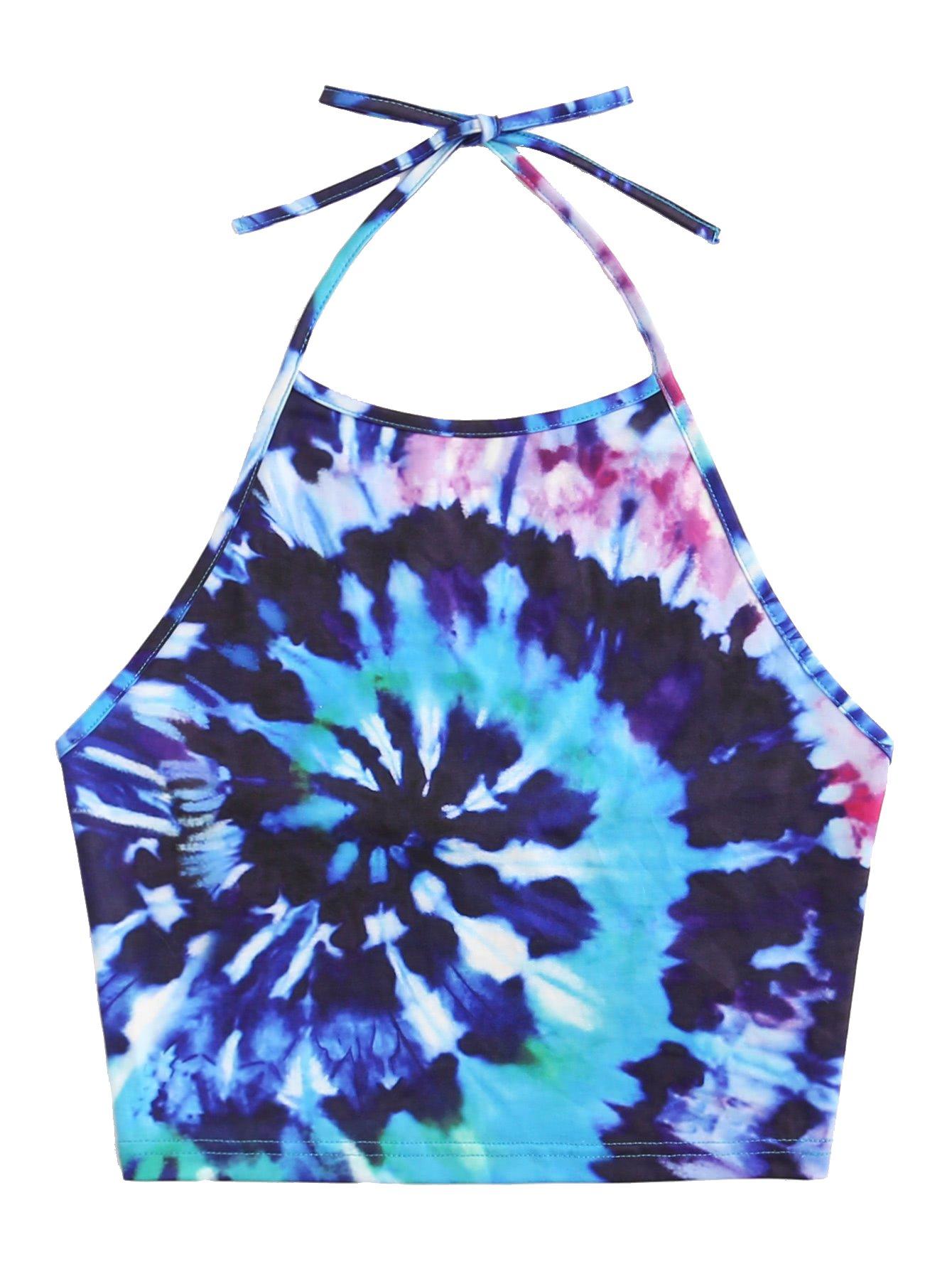 Romwe Women's Sexy Spiral Tie Dye Multicolor Print Backless Tie Halter Top Blue M