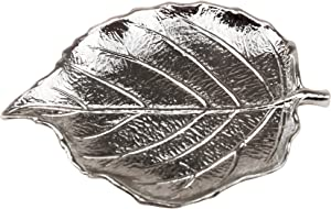"GIFTY GIFTY Solid Leaf Jewelry Tray | for Home Decor, Jewelry, and Small Accessories (Silver / 5.2""x4.5""x0.6"")"