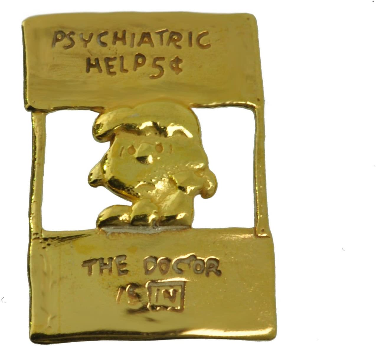 Lucy Charlie Brown charm Peanuts Snoopy 24K Gold Plated Psychiatric help Doctor