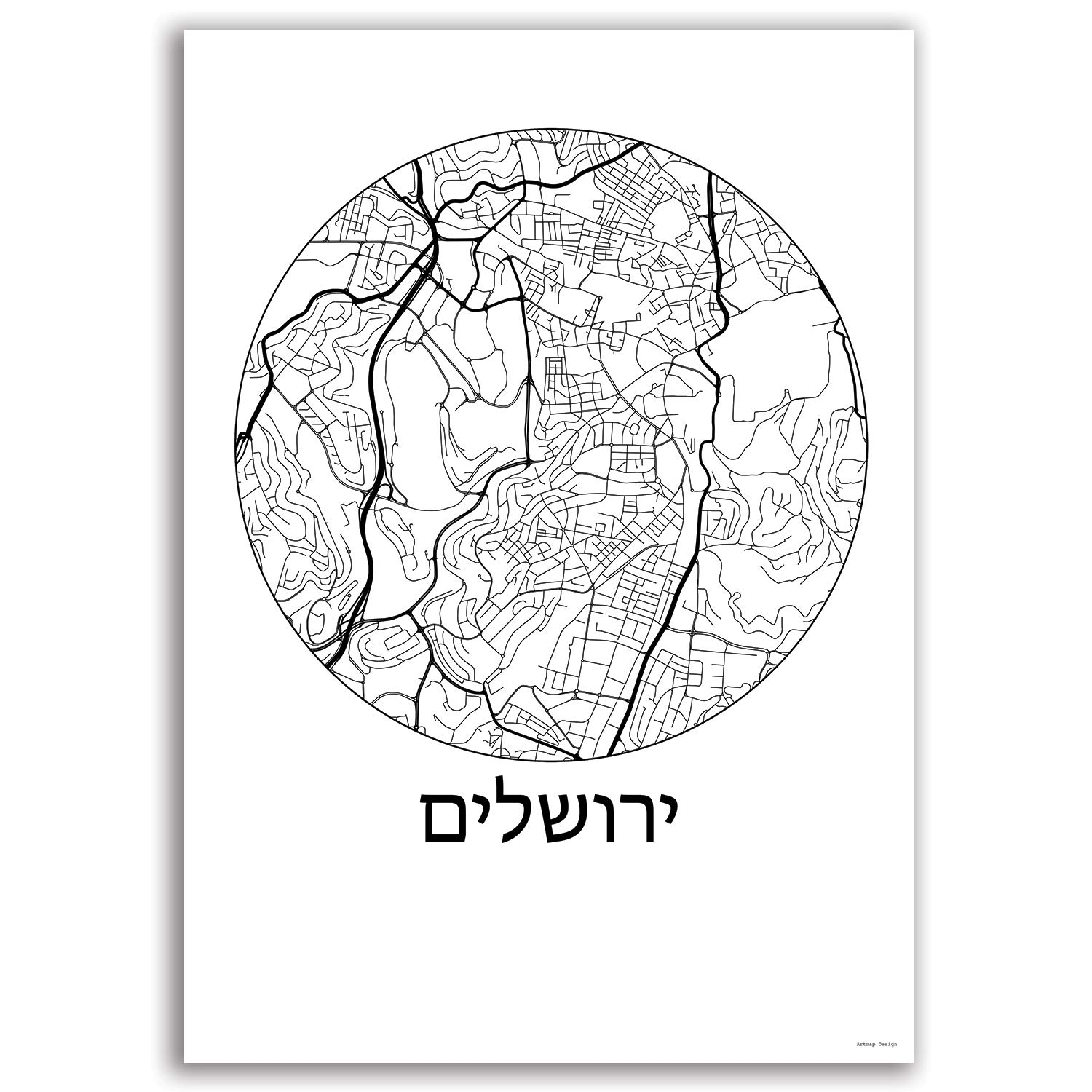 Cartel Jerusalem Israel Minimalista Mapa - City Map ...
