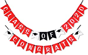 Class of 2020 Congrats Banner - Perfect Graduation Decorations Party Supplies for Grad Party Bunting White Black Red