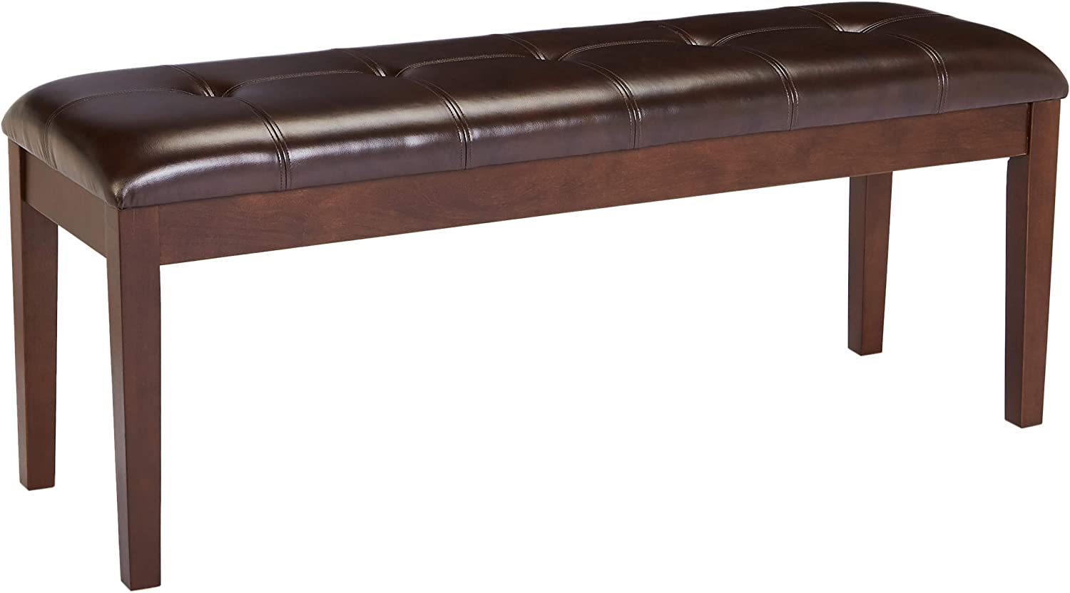 Red Hook Barcelona Wooden Bench with Faux-Leather Upholstered Cushion – Bittersweet Brown