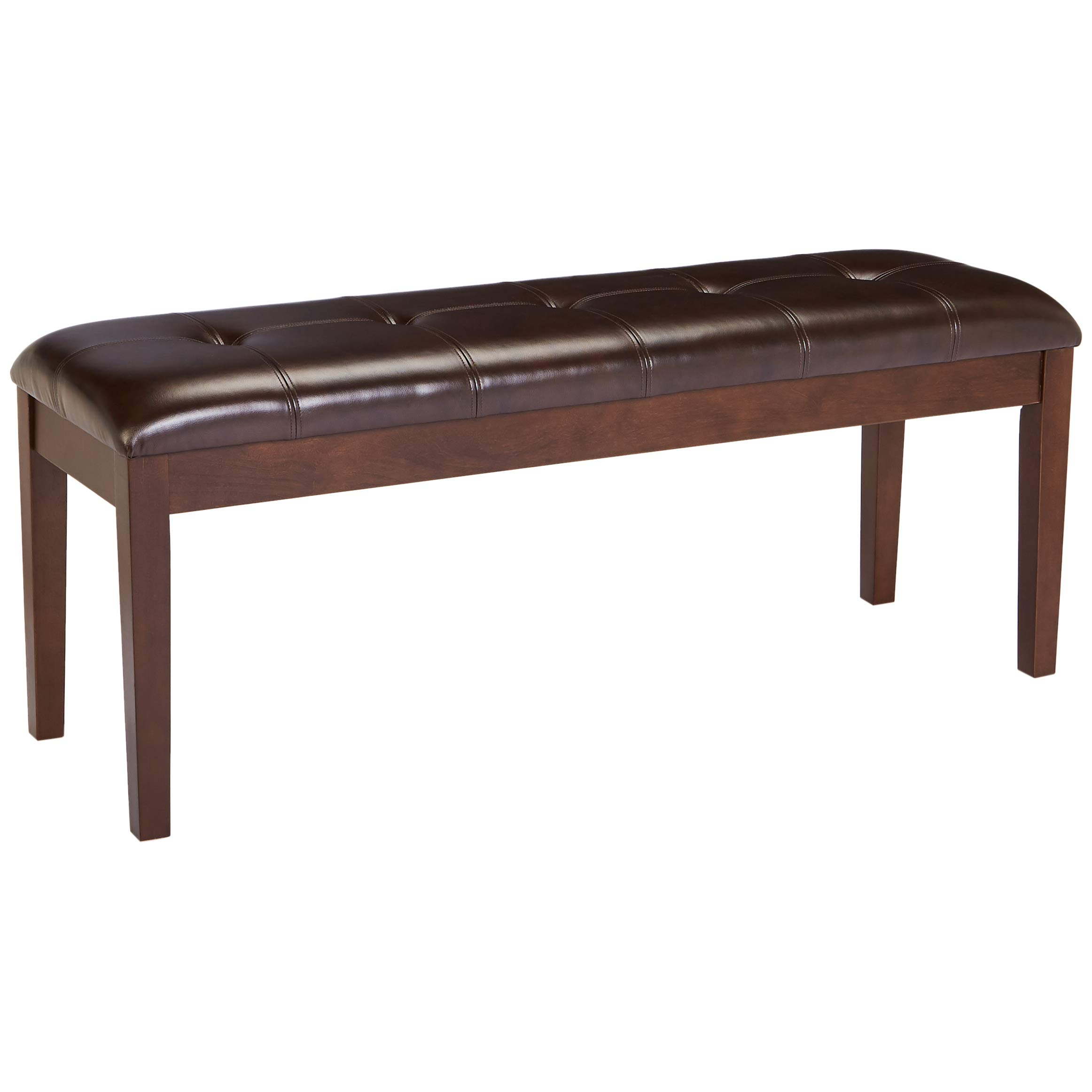 Red Hook Barcelona Wooden Bench with Faux-Leather Upholstered Cushion - Bittersweet Brown by Red Hook