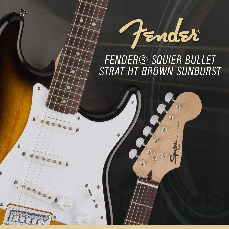 Fender Squier Bullet Strat HT 6-String Electric Guitar Complete Starters Pack Brown Sunburst with Tuner Hard Tail Picks Strings