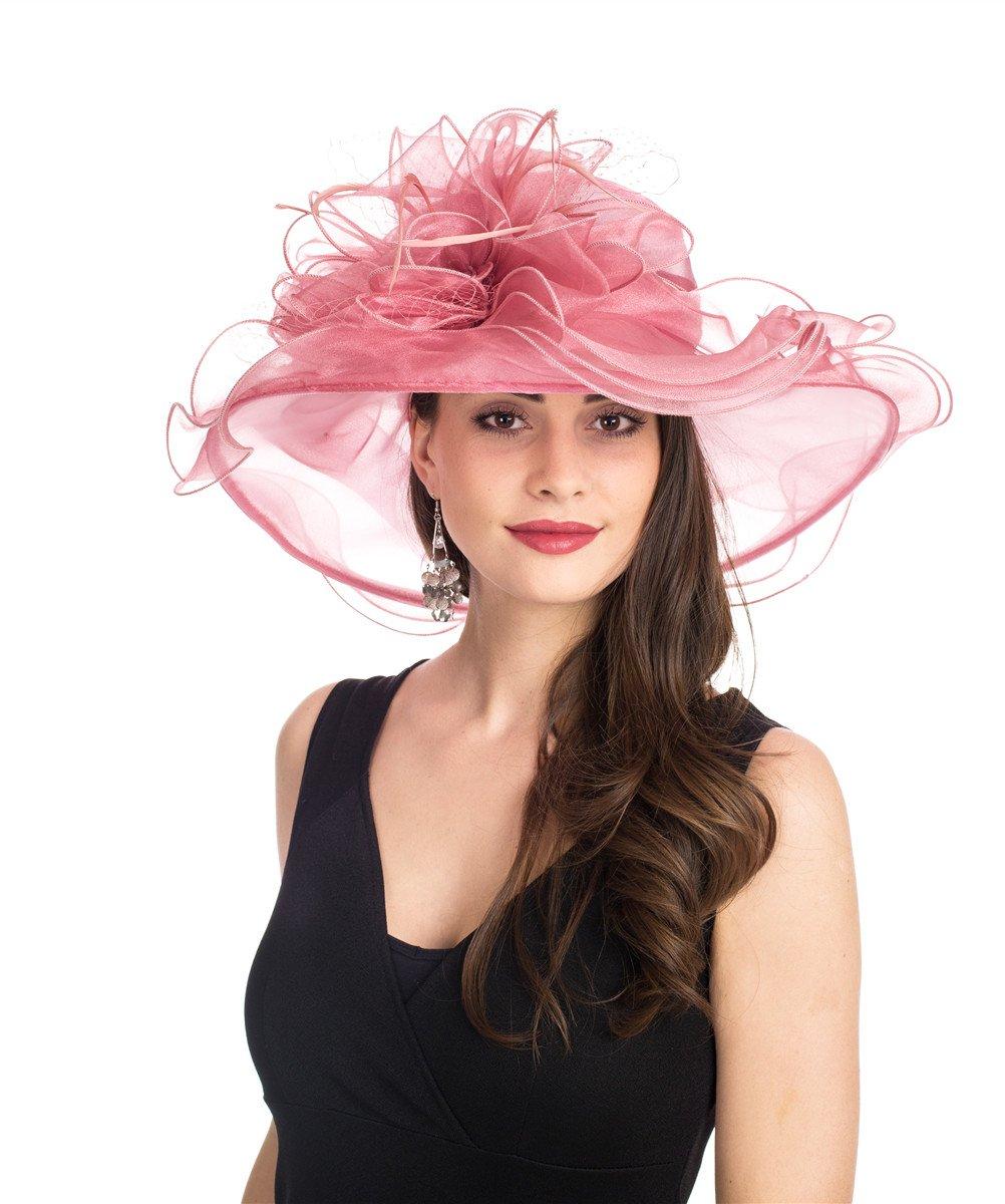 SAFERIN Women's Organza Church Kentucky Derby Fascinator Bridal Tea Party Wedding Hat (3190-Pink Mash)