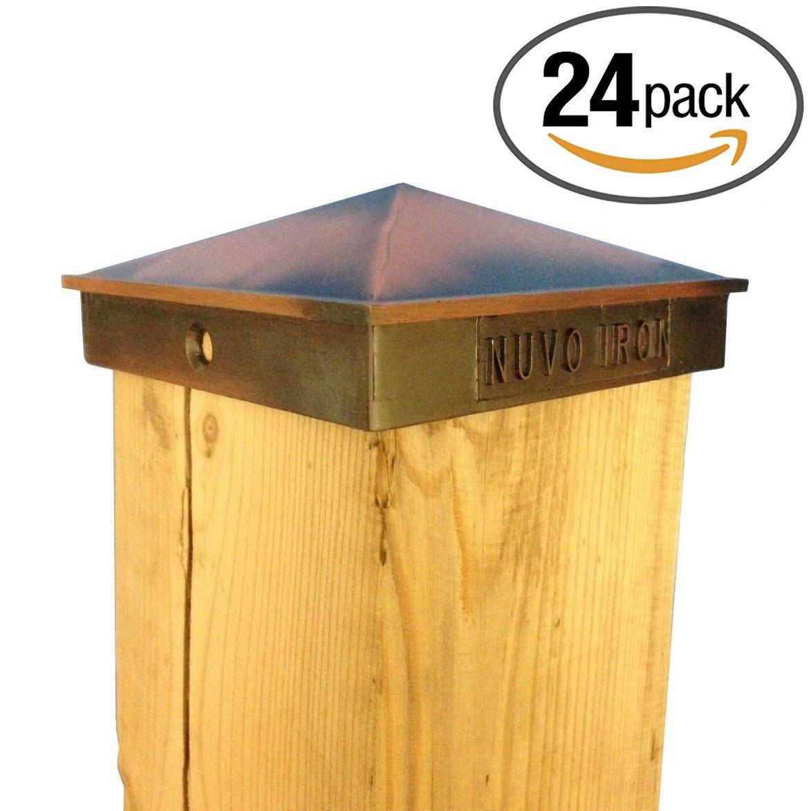 Nuvo Iron Decorative Pyramid Aluminium Post Cap for (True) 6'' x 6'' Posts - Copper Plated [24 PACK]
