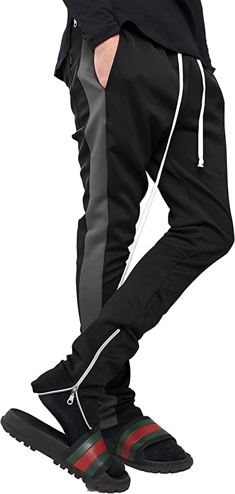 best wholesaler popular brand fashion Amazon.com: Mens Stripe Track Pants Skinny Fit Stretch Trouser ...