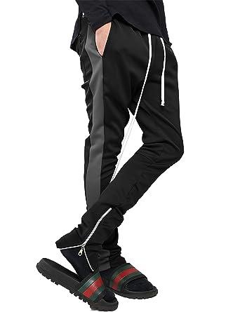 3e3f6266b Mens Stripe Track Pants Skinny Fit Stretch Trouser Elastic Jogger 1VWA0006  (Small