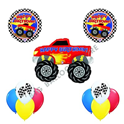 Betallic Ultimate 11 pc Monster Truck Happy Birthday Balloon Decoration kit: Toys & Games