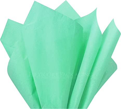 "Green Quality Premium Grade Color Tissue Paper 24 Sheets 20/"" x 30/"" Cool Mint"