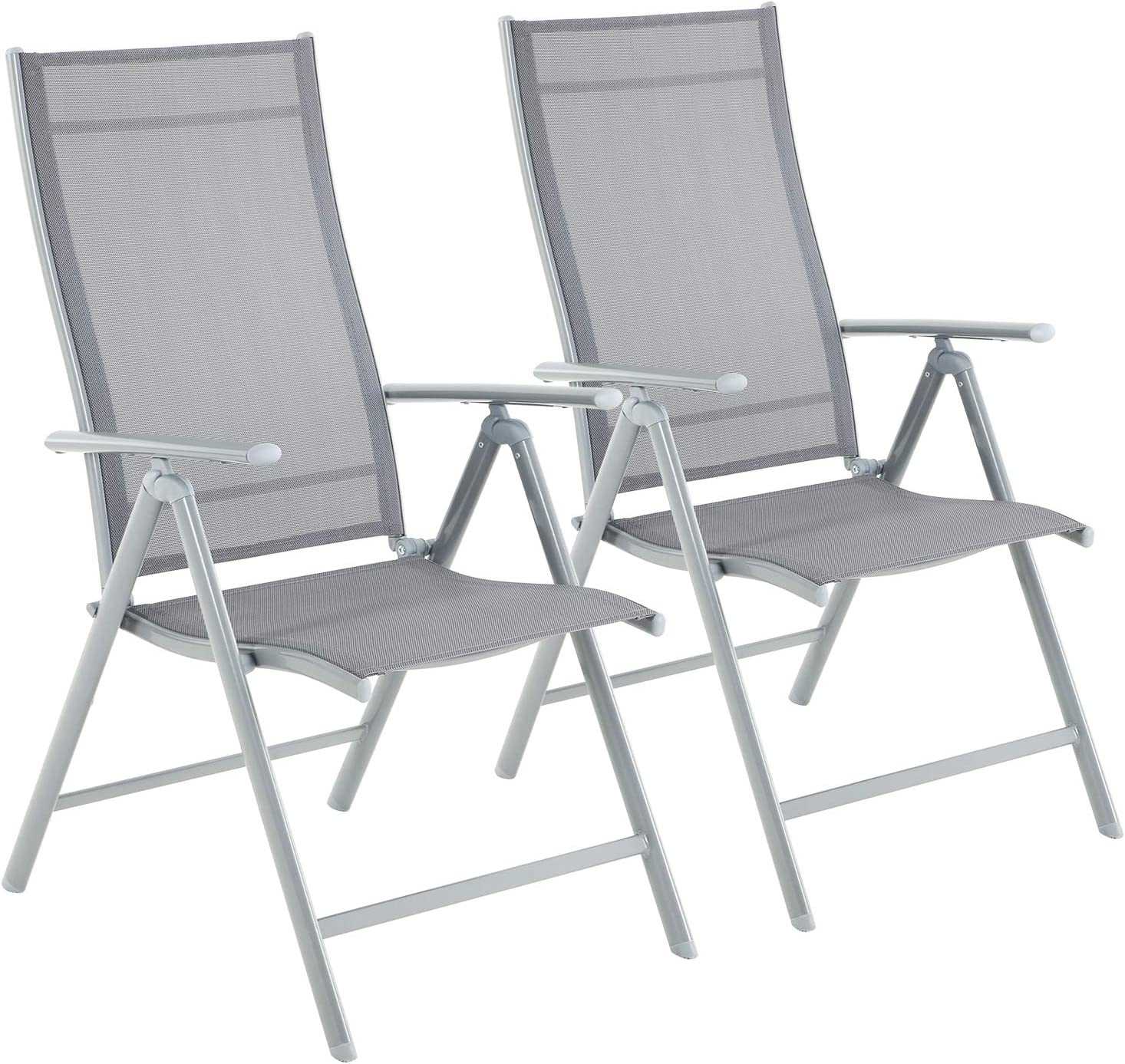 SONGMICS Set of 1111 Folding Garden Chairs, Outdoor Chair with Stable Iron  Structure, 1111-Angle Reclining Backrest, Max. Capacity 1111 kg, Grey GCB1111GYV11