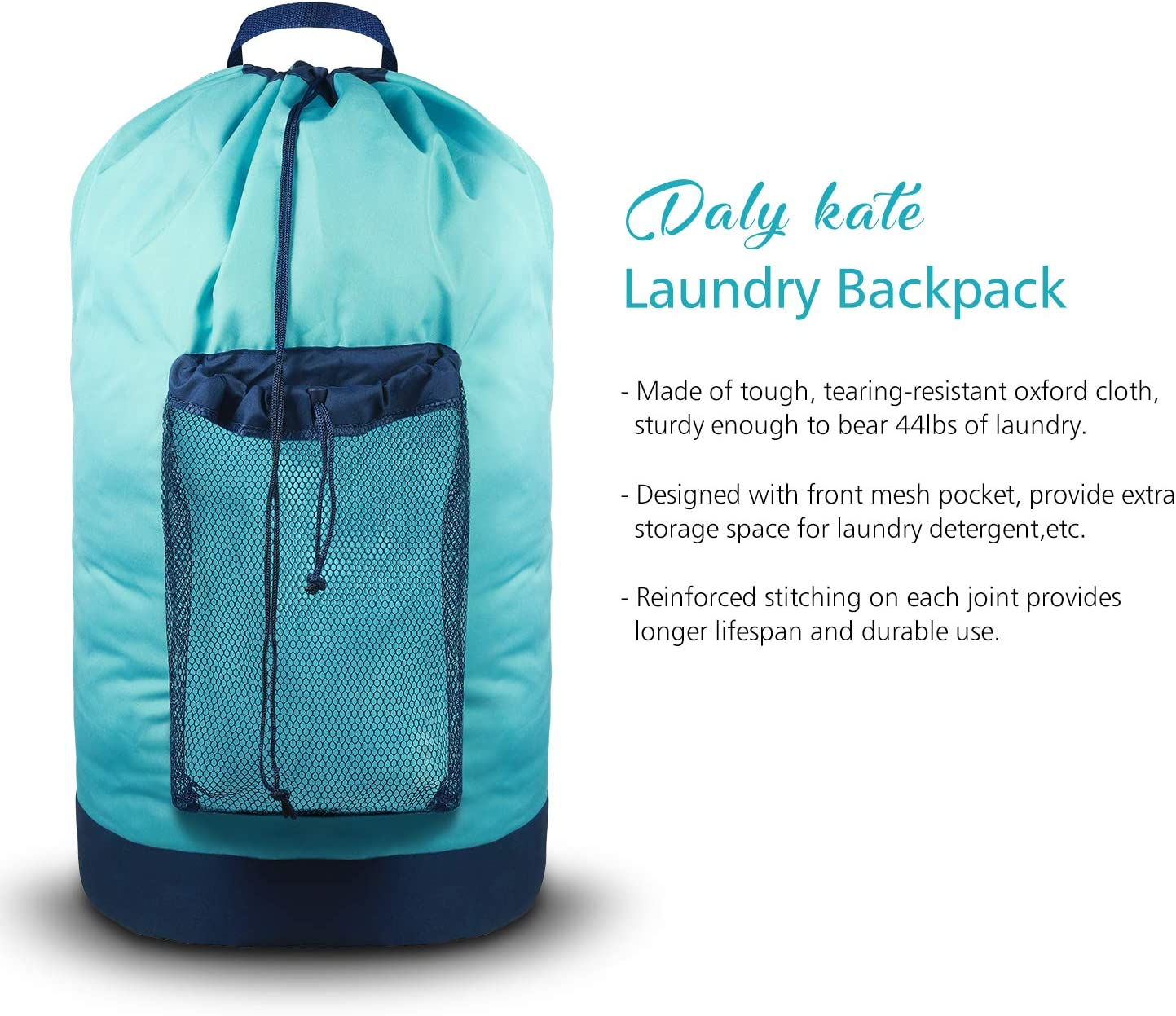 Daly Kate Backpack Laundry Bag, Laundry Backpack with Shoulder Straps and Mesh Pocket Durable Nylon Laundry Washing Backpack with Drawstring Closure