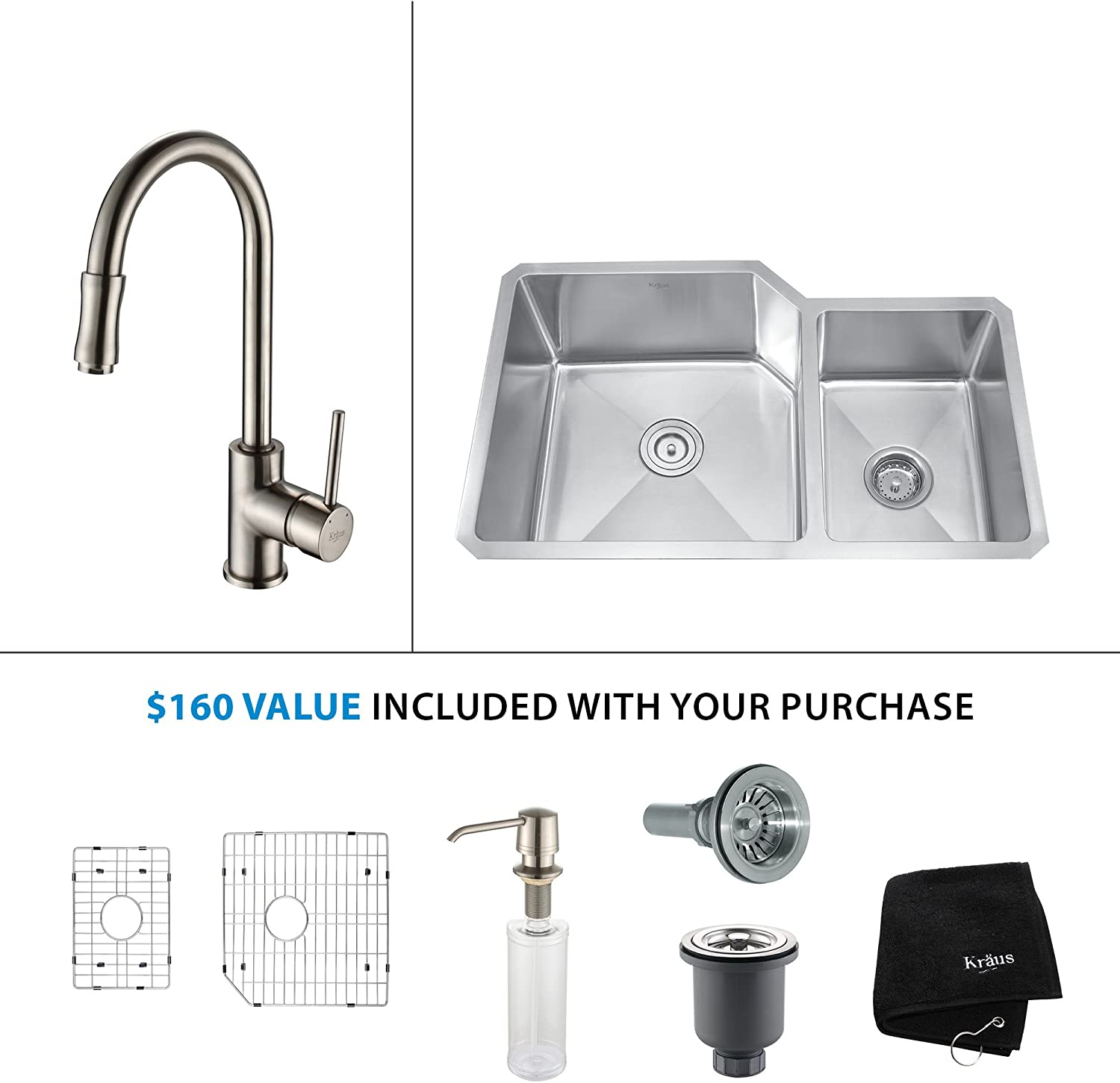 Kraus KHU103-33-KPF1612-KSD30SS 33 Undermount Double Bowl Stainless Steel Kitchen Sink with Stainless Steel Finish Kitchen Faucet and Soap Dispenser