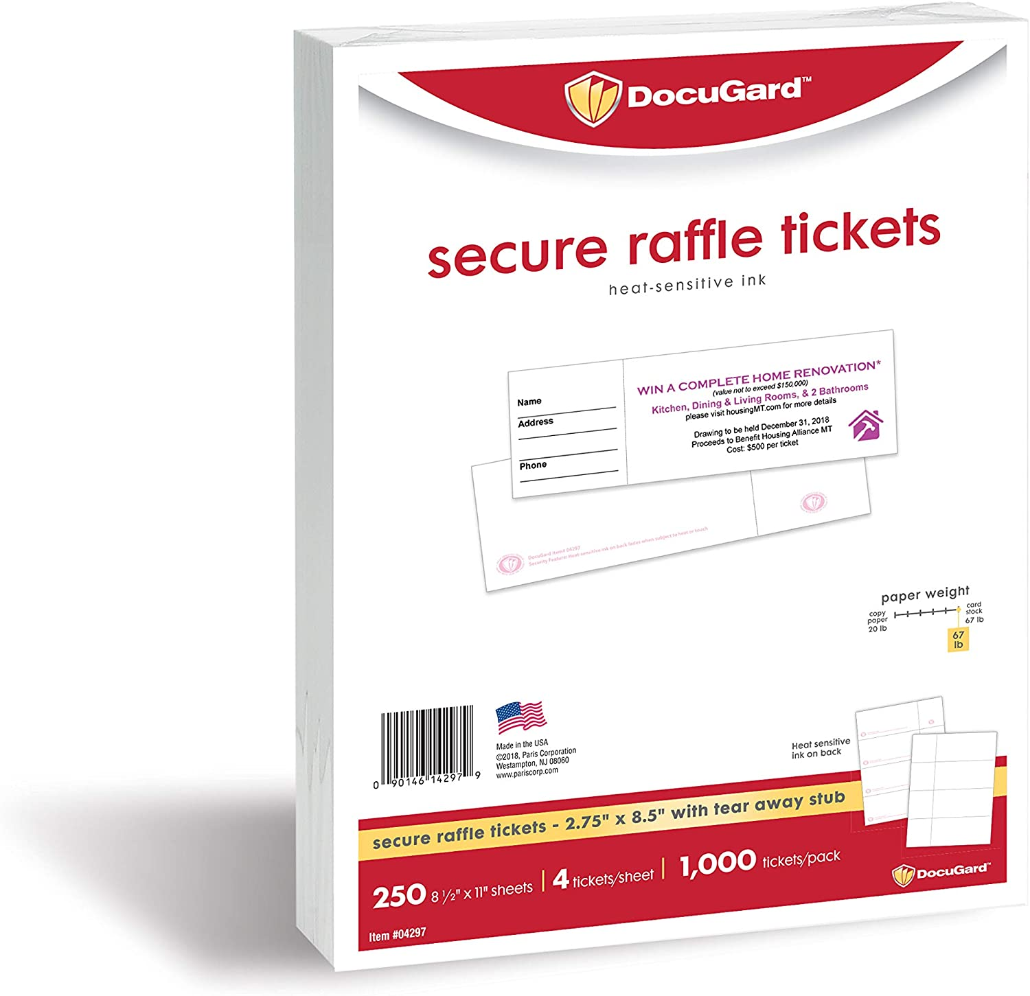 DocuGard Secure Raffle Tickets with Heat Sensitive Ink, Tear-Away Stubs, 8.5 x 11, 67 lb Card Stock, 4 Tickets Per Sheet, 250 Sheets, 1000 Tickets, (04297) (2.75 x 8.5)