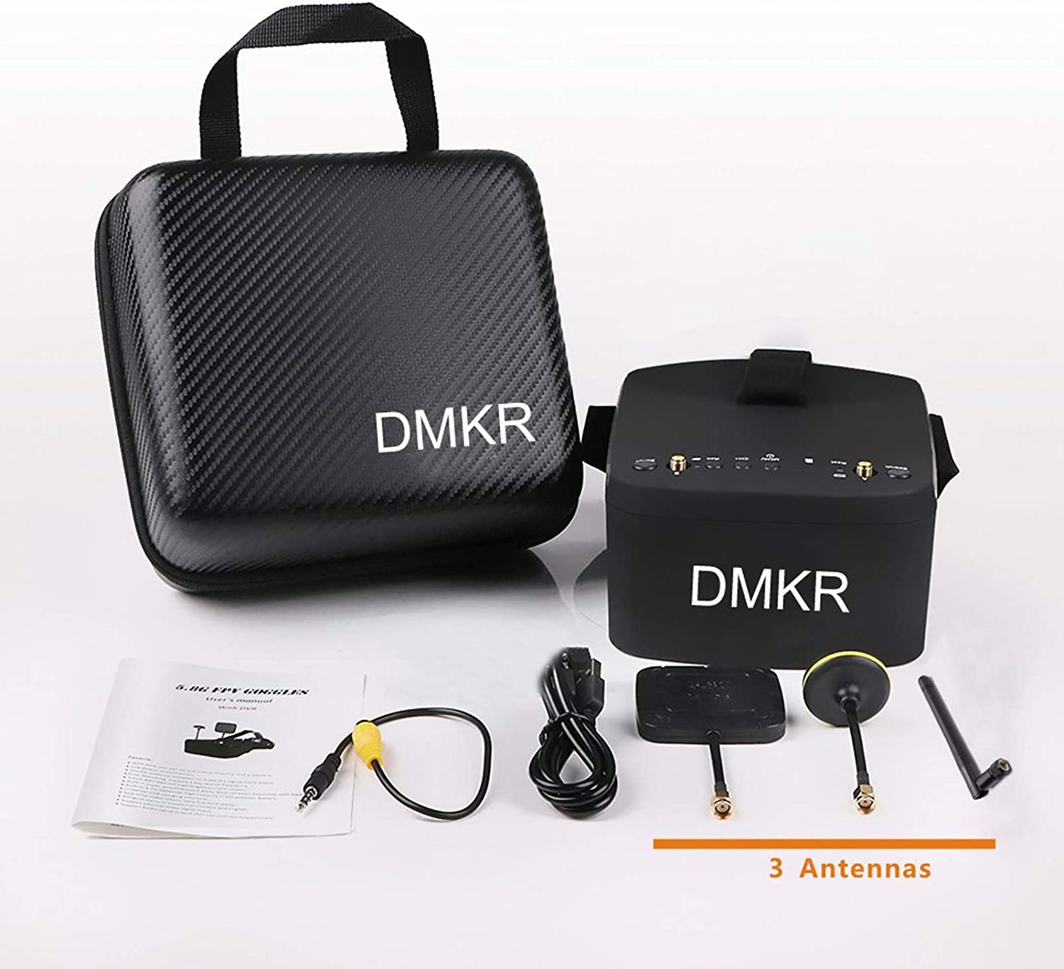 DMKR DR800DPro FPV Goggles with DVR 5.8G 40CH 5 Inch 800x480 HD Video Headset Build in 2000mAh Battery with Three Antennas for FPV Racing Drone Quadcopters
