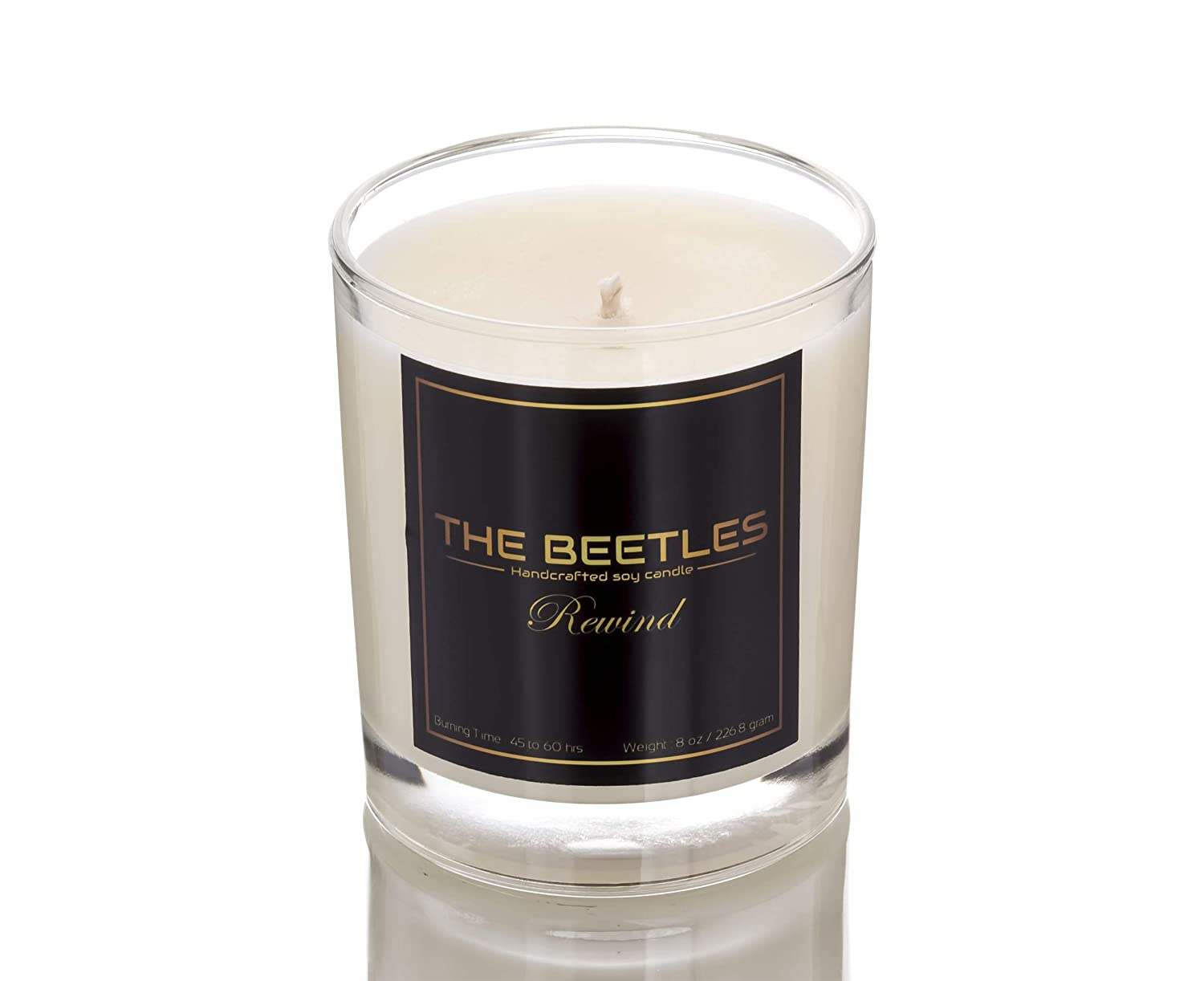 THE BEETLES Rewind Whiskey Glass Pure Soy Wax Scented Candle