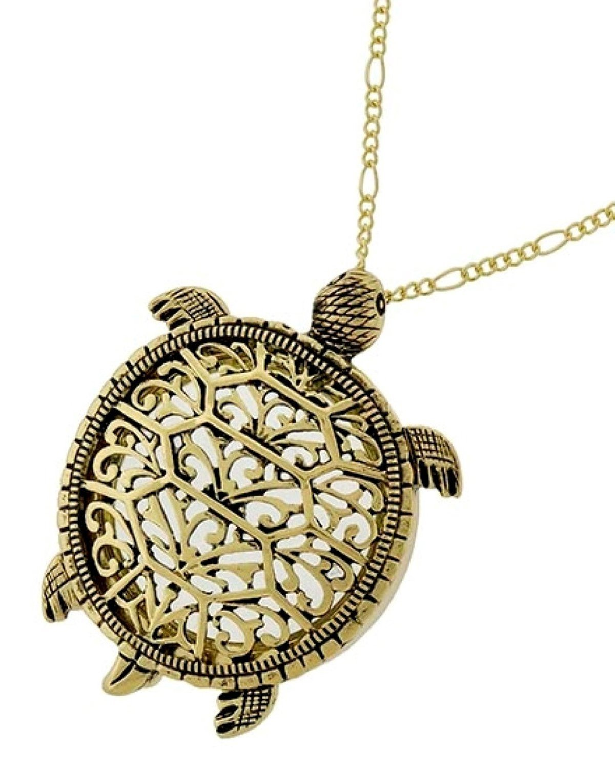 Sea Turtle Magnifier Magnifying Glass Sliding Top Magnet Pendant Necklace, 30'' (Gold Tone)