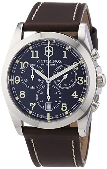 e202a6ed226 Image Unavailable. Image not available for. Colour  Victorinox Swiss Army  Men s Classic Infantry Quartz Watch with Grey Dial Chronograph Display and  Brown ...