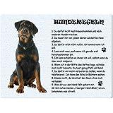 """Blechschild / Warnschild / Türschild - Aluminium - 15x20cm - - """"Hunderegeln"""" - Motiv: Rottweiler -- 02"""