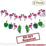 FLAMINGO PINEAPPLE LEAVES BANNER GARLAND - No DIY Required. 2 Pack | Felt Banner |Flamingo Pineapple Party Decorations | Monstera Palm Leaves | Luau Tropical Jungle Beach Safari Party Supplies Theme
