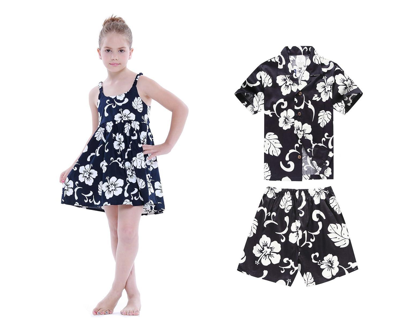 Garçon et fille assortis Frères et sœurs Hawaiian Luau Outfits dans la marine d'Hibiscus Fille 4 Garçon 8