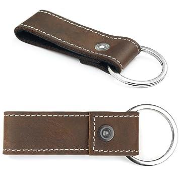 MENQ - Porte-clés en cuir véritable Marron Rustique Pendentif Un Femmes  Hommes bb28edac620