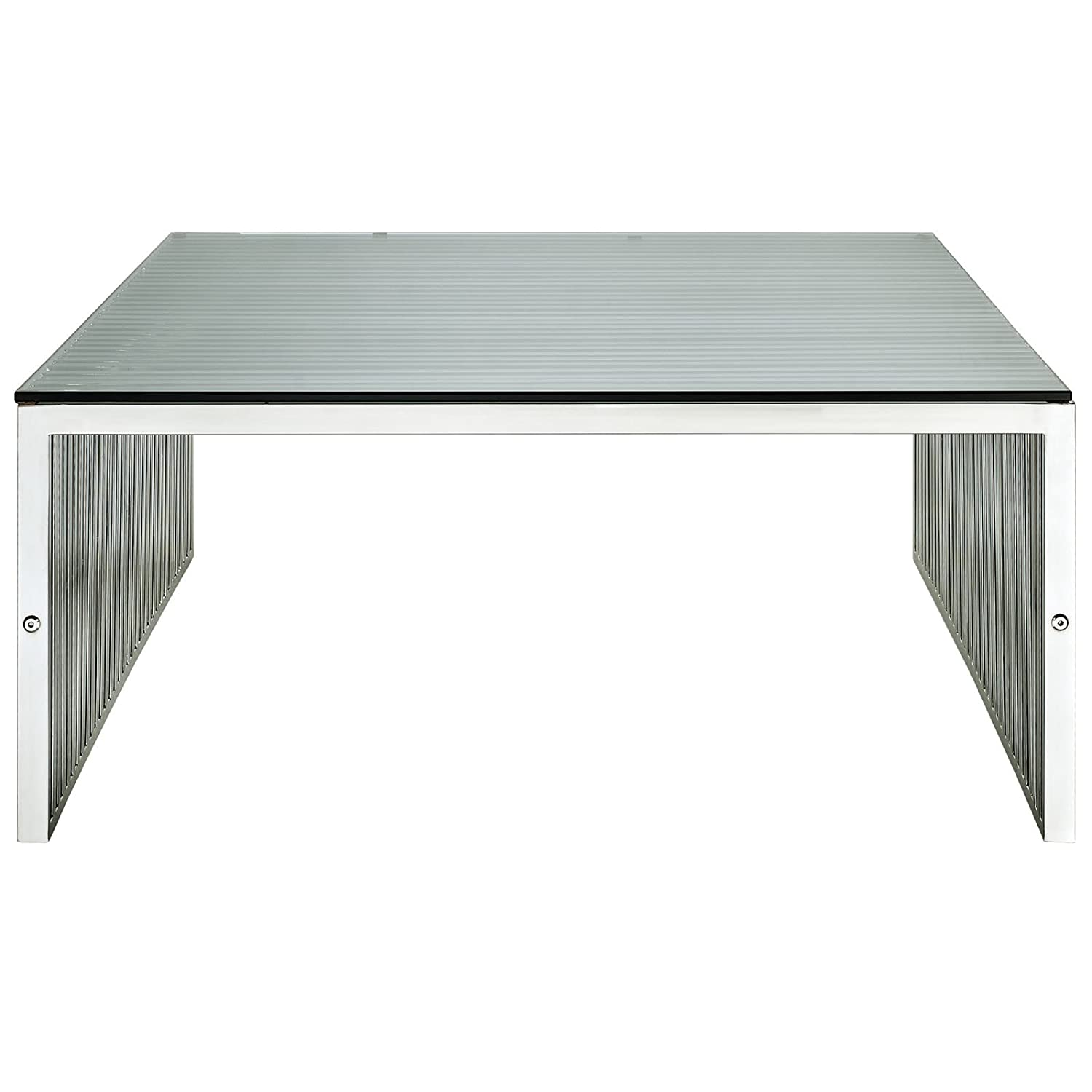 Amazon Modway Gridiron Stainless Steel Coffee Table with