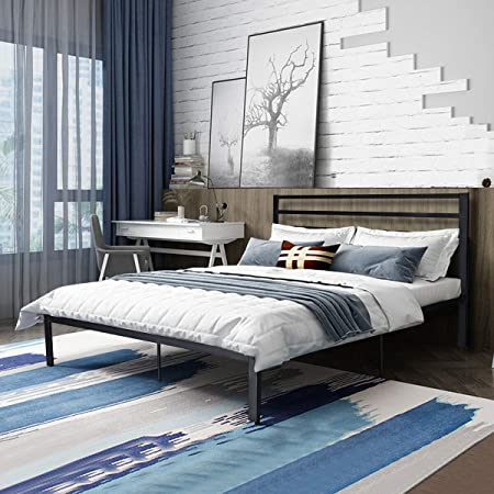 Queen Size Steel Bed Frame Platform Wooden Slat Support With Headboard Chocolate