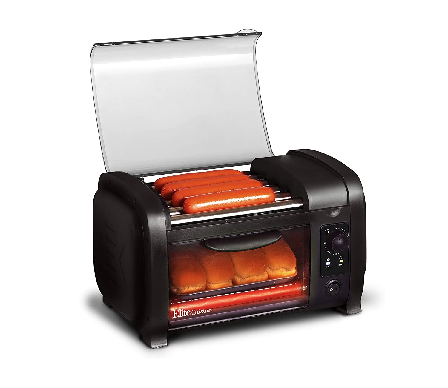 Elite Cuisine EHD-051B Hot Dog Toaster Oven, 30-Min Timer, Stainless Steel Heat Rollers Bake & Crumb Tray, World Series Baseball, 4 Bun Capacity Black