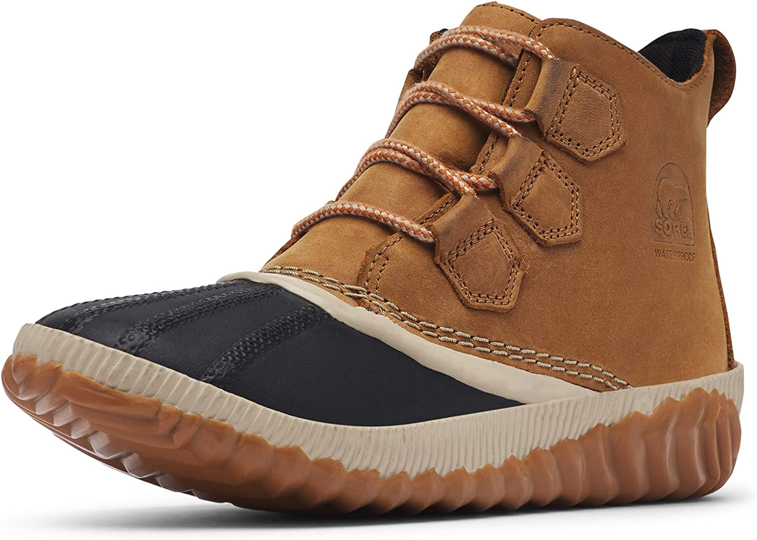   Sorel - Women's Out 'N About Plus, Waterproof Leather and Suede Duck Boot, Tonic Melon   Rain Footwear