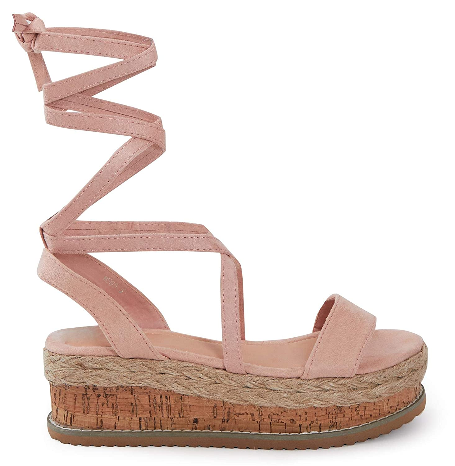 shelikes Womens Ladies Flat Wedge Espadrille Lace Tie Up Sandals Platform Summer Shoes
