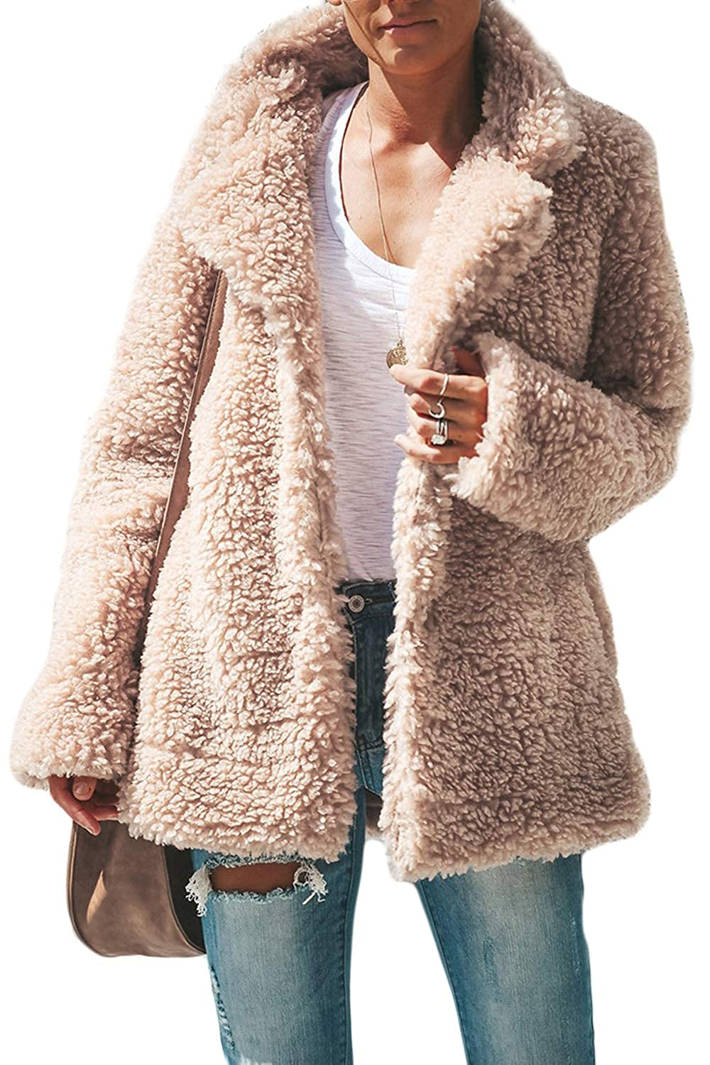 Fasumava Women Fuzzy Coat Winter Casual Collared Thick Front Open Outerwear