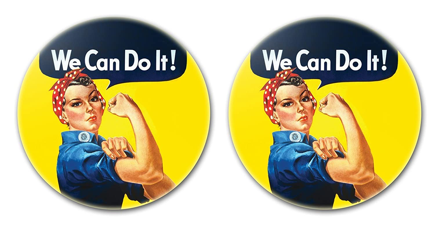 We Can Do It - Two 2.25 (58mm) Buttons/Pins/Badges