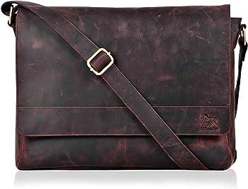 ESTALON- Leather Premium Office Tan Laptop Messenger Bag