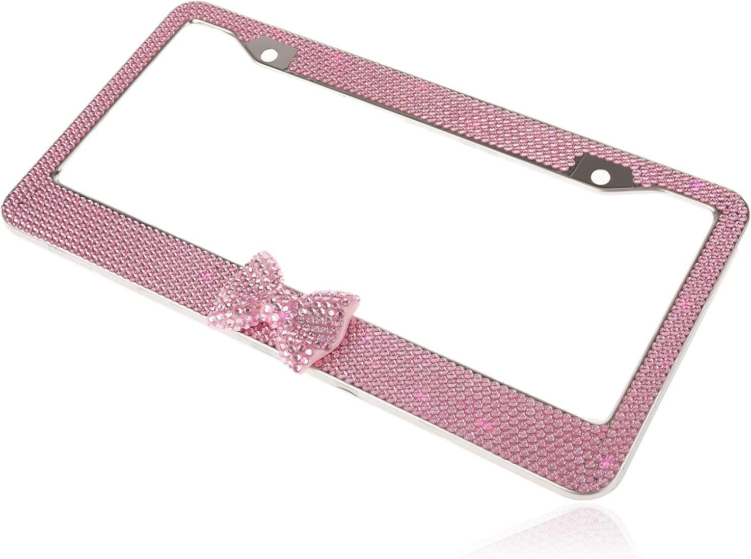 1 Frame Better Solution Lovely Handmade Sparkle Pink Frame W//Pink Bowtie Bling Crystal License Plate Frame Cover Cute Rhinestone Gift License Plate Holder for Lady,Women,Girl,Friends,Family