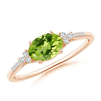 Angara Horizontally Set Oval Peridot Solitaire Ring with Trio Diamond Accents F05kKdY