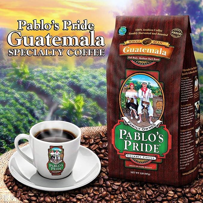 2LB Pablos Pride Gourmet Coffee - Guatemala - Medium-Dark Roast Whole Bean Coffee - 2 Pound (2 lb)  Bag