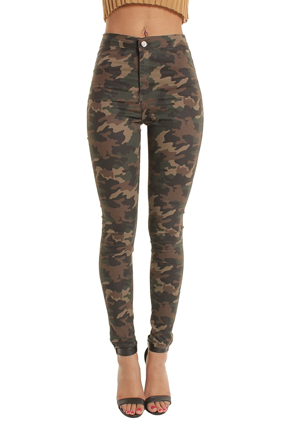 Camouflage Wine Shades of Blue Black Portobello Punk High Waisted Skinny Jeans in White