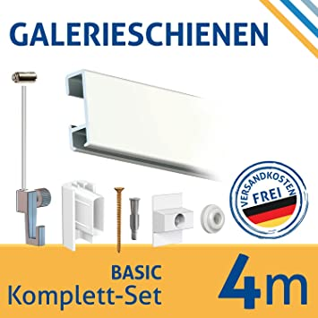 Bilderleiste Bilderleisten Galerieleisten Komplett Set Klassik Weiß 16 Meter