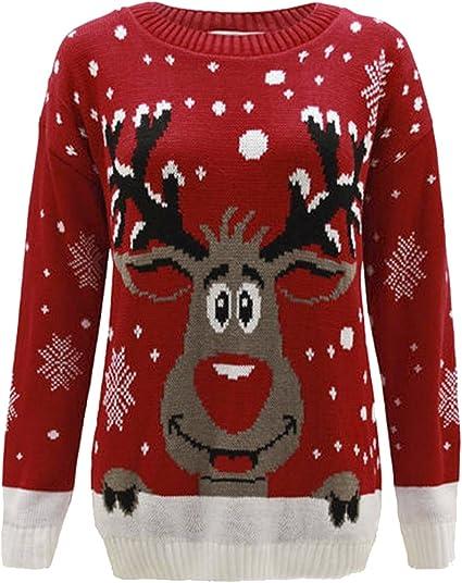 kids Christmas jumper xmas boys girls red Rudolf reindeer childrens kids novelty