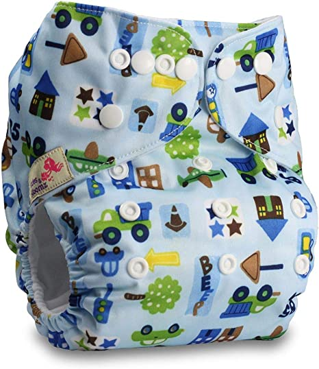 with 1 Microfibre Insert Pattern 92 Reusable Pocket Cloth Nappy Set of 1 Fastener: Popper Littles /& Bloomz